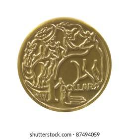 An Australian dollar coin isolated on a white background