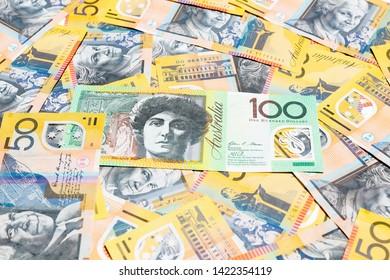 Australian dollar notes for background