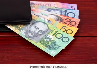 Australian Dollars in the black wallet