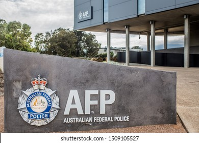 Australian federal Police logo on the wall of a Adelaide police station - Adelaide South Australia 15.09.2019