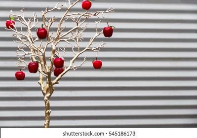 Australian festive season decorations against a corrugated iron wall