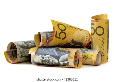 Australian fifty dollar notes, isolated on white.