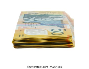australian fifty dollars notes on white