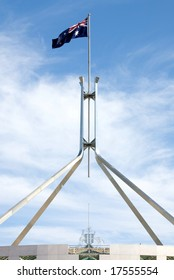 The Australian flag, atop Parliament House, Canberra, Australia