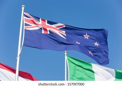 Australian Flag blowing in a brisk breeze on a flagpole