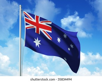 australian flag in blue sky background - 3d rendered image