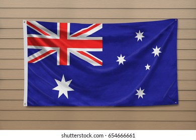 Australian flag hanging on a wall