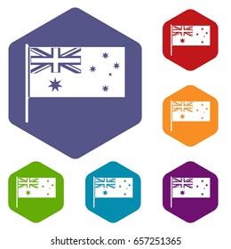 Australian flag icons set hexagon isolated  illustration