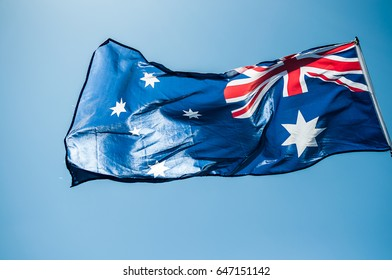 Australian flag on a windy day
