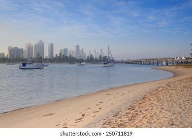 Australian foggy morning along Main Beach suburb  (Gold Coast, Southport, QLD, Australia)