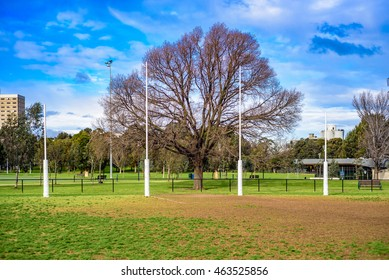 Australian Football League goal posts in a park
