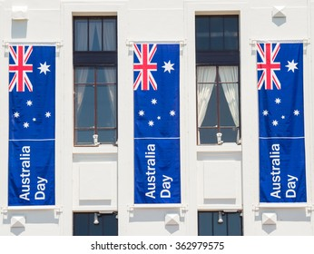An Australian government building decorated with banners for the Australia Day public holiday on 26 January.