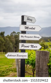 Australian grape varieties on direction signs in Hunter valley (NSW), famous for high quality wine production