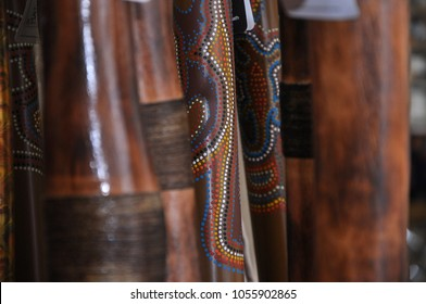 Australian handmade didgeridoo instruments with native paintings art