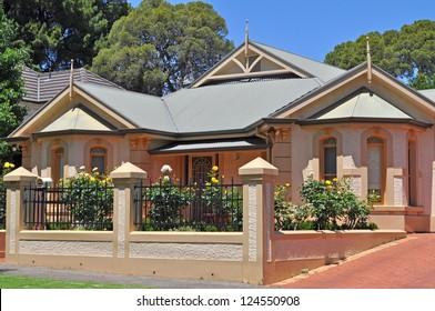 Australian house, vintage style. Exterior facade