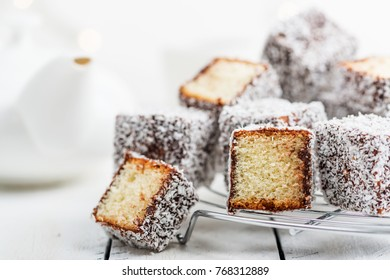 Australian lamington cake with chocolate and coconut.