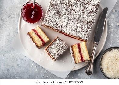 australian lamington cake with raspberry jam, top view