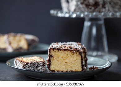 Australian Lamington cake, sponge cake with chocolate and coconut