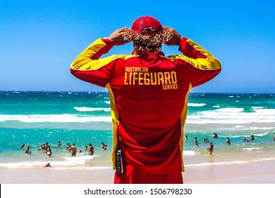 Australian lifeguard at the beach in style
