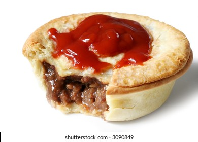 Australian meat pie and tomato sauce.