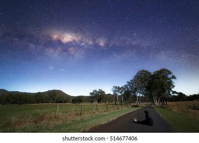 Australian Milky Way and Sitting Man