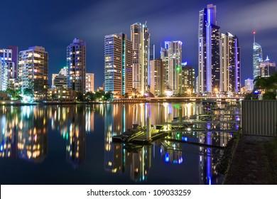 australian modern city at night (gold coast,  queensland, australia)