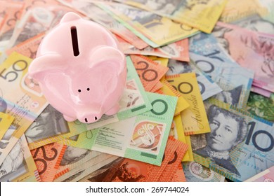 Australian Money - Aussie currency with piggy bank