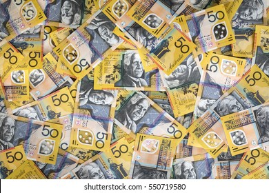 Australian money background.  Fifty dollar notes, top view. XXXL.
