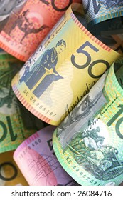 Australian money background, with focus on fifty dollar note.