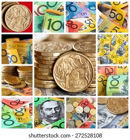 Australian money collection.  Collage of notes and coins.