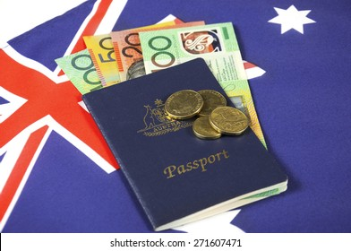 Australian Money with passport for travel concept.