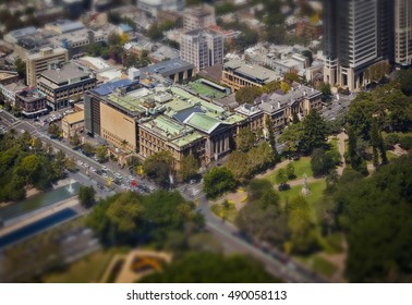 Australian Museum from above in Sydney, New South Wales Australia. Tilt shift.