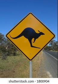 Australian native animal kangaroo road sign