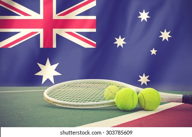 Australian open tennis concept with flag and ball vintage color