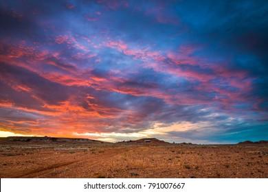 Australian Outback Landscape Dirt road track in Coober Pedy, South Australia