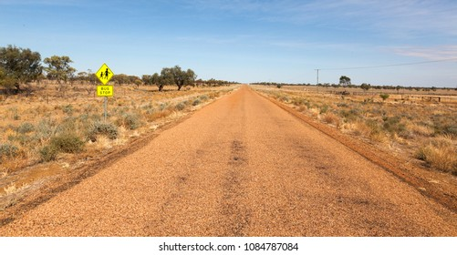 Australian outback sign for children crossing Queensland Birdsville vicinity