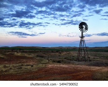 Australian Outback Windmill Silhouette Sunset Rural Country Farm