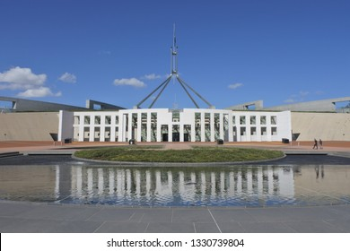 The Australian Parliament House in Canberra in the Australian Capital Territory, Australia.