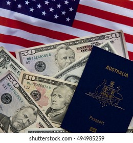 Australian passport with American money and flag.