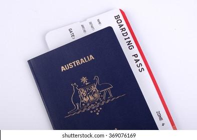 Australian passport with a boarding pass inside