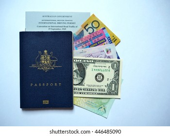 Australian passport, international driver license and foreign currencies