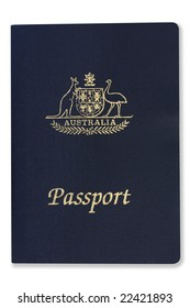 Australian passport, isolated on white with soft shadow.  Clipping path included.