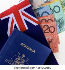 Australian passport, money and flag.