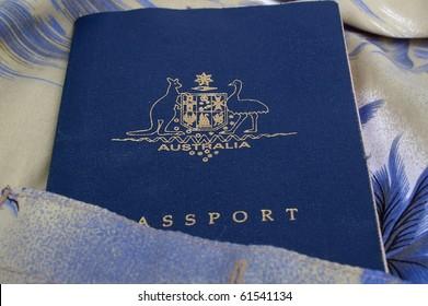 australian passport in tropical Hawaiian shirt