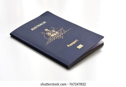 Australian Passport, white background