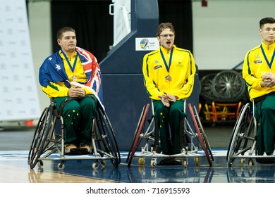 Australian Players during medal ceremony at 2017 Menâ??s U23 World Wheelchair Basketball Championship which takes place at Ryerson's Mattamy Athletic Centre, Toronto, ON, on June 08 -16, 2017
