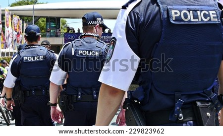Australian police line up at G20. The 12th to the 16th of November will see Brisbane playing host to the G20 Summit. Brisbane, Queensland, Australia. 11 November 2014.