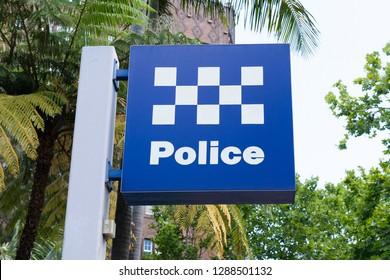 Australian police station sign in Sydney NSW Australia