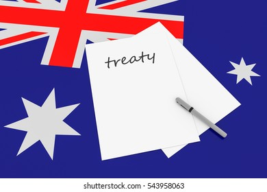 Australian Politics: Treaty Note With Pen On Australia Flag, 3d illustration