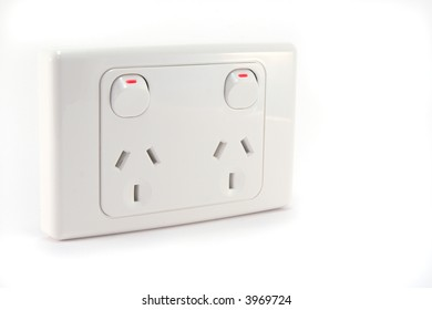 An Australian power outlet on a white background.